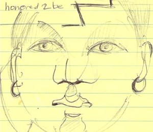 woman's face on yellow legal paper