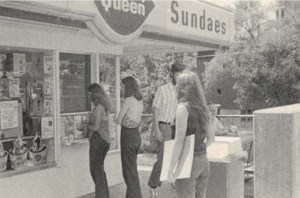 sue with sketch pad at dairy queen 70s