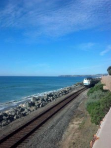 train tracks and blue sky