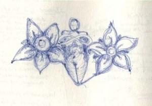 women's body and flower petals
